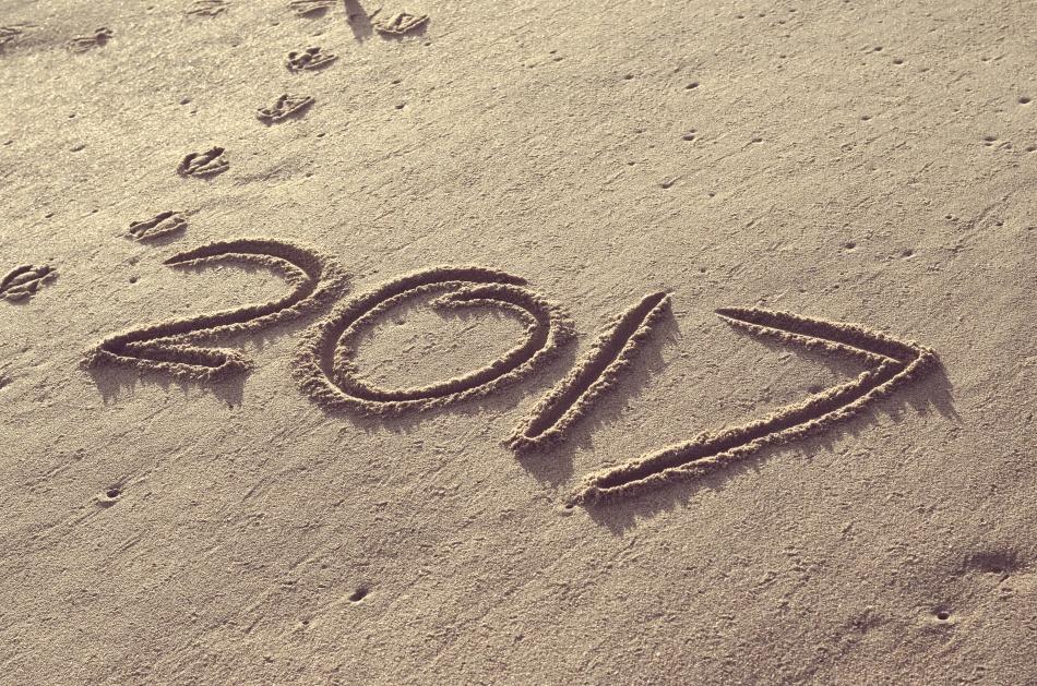 Happy 2017 Written in the Sand