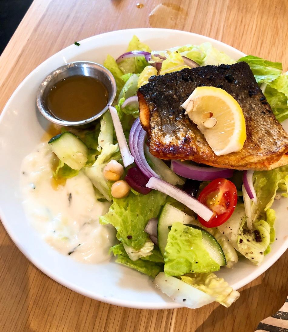 Greek Salad with Salmon, Next Door American Eatery