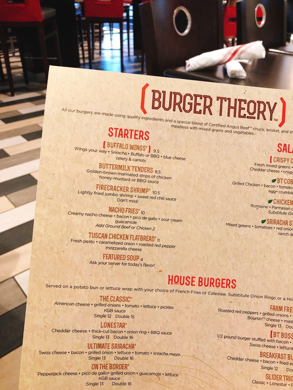Menu, Burger Theory, Holiday Inn Indianapolis